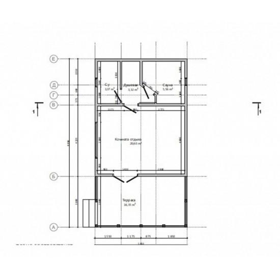Māja 5,45 X 9,95 54m2